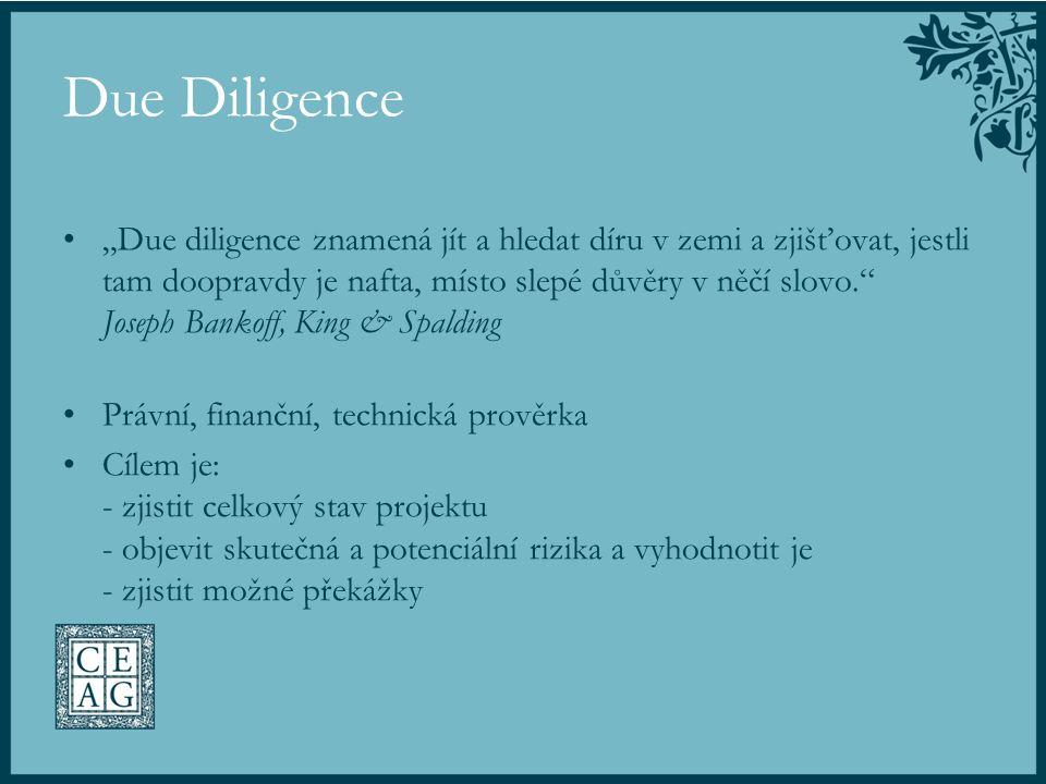 """Due Diligence """"Due diligence znamená jít a hledat díru v zemi a zjišťovat, jestli tam doopravdy je nafta, místo slepé důvěry v něčí slovo."""" Joseph Ban"""