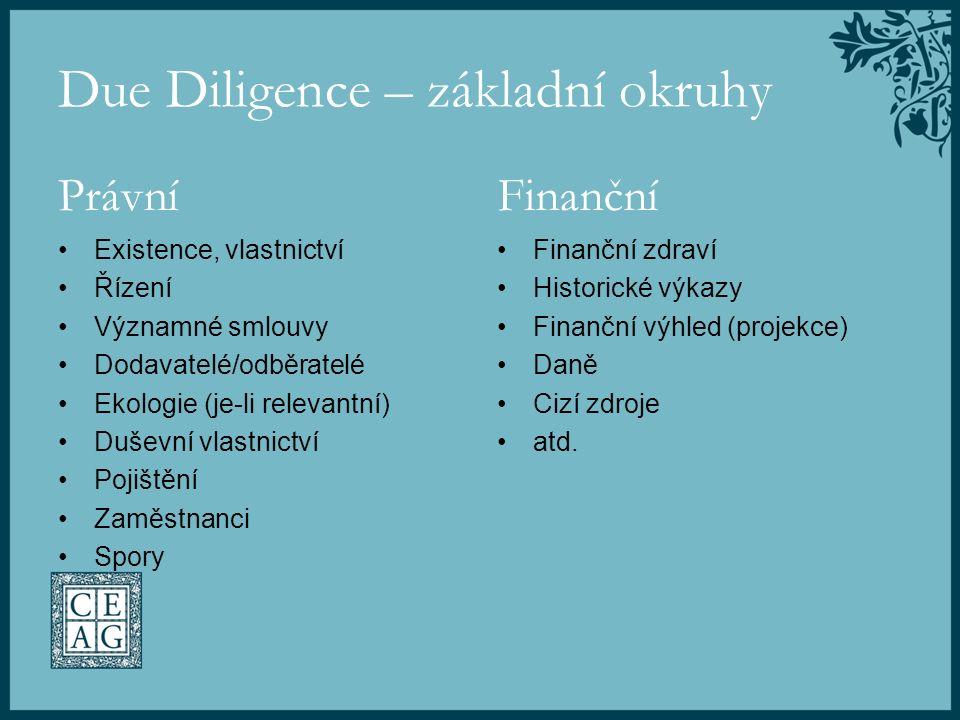 Due Diligence – základní okruhy Právní Existence, vlastnictví Řízení Významné smlouvy Dodavatelé/odběratelé Ekologie (je-li relevantní) Duševní vlastn