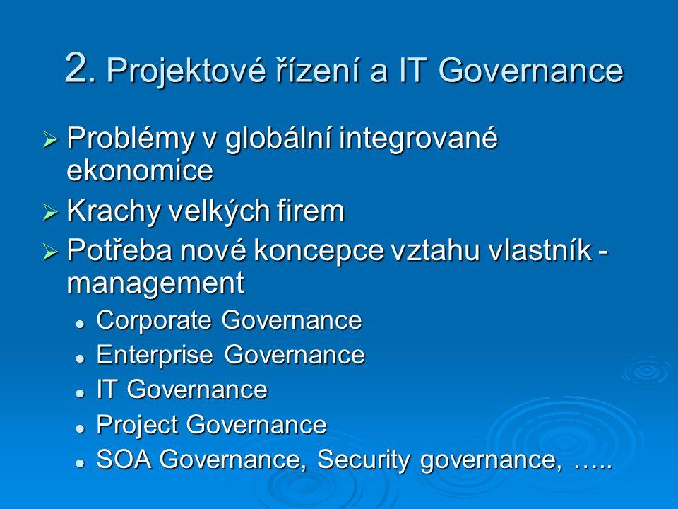 2. Projektové řízení a IT Governance  Problémy v globální integrované ekonomice  Krachy velkých firem  Potřeba nové koncepce vztahu vlastník - mana