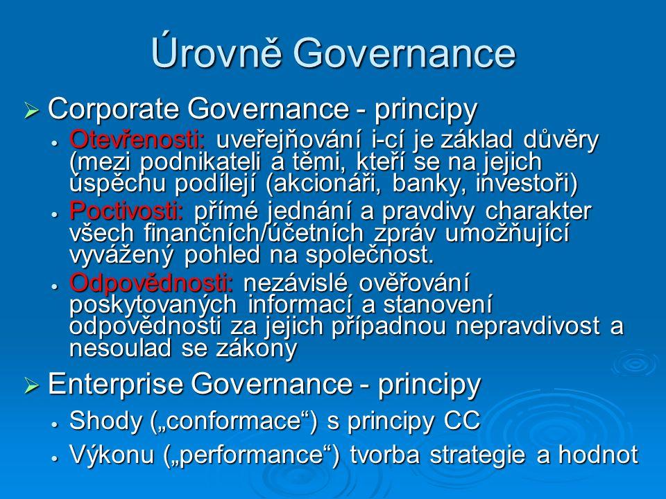 Úrovně Governance  Corporate Governance - principy Otevřenosti: uveřejňování i-cí je základ důvěry (mezi podnikateli a těmi, kteří se na jejich úspěchu podílejí (akcionáři, banky, investoři) Otevřenosti: uveřejňování i-cí je základ důvěry (mezi podnikateli a těmi, kteří se na jejich úspěchu podílejí (akcionáři, banky, investoři) Poctivosti: přímé jednání a pravdivy charakter všech finančních/účetních zpráv umožňující vyvážený pohled na společnost.