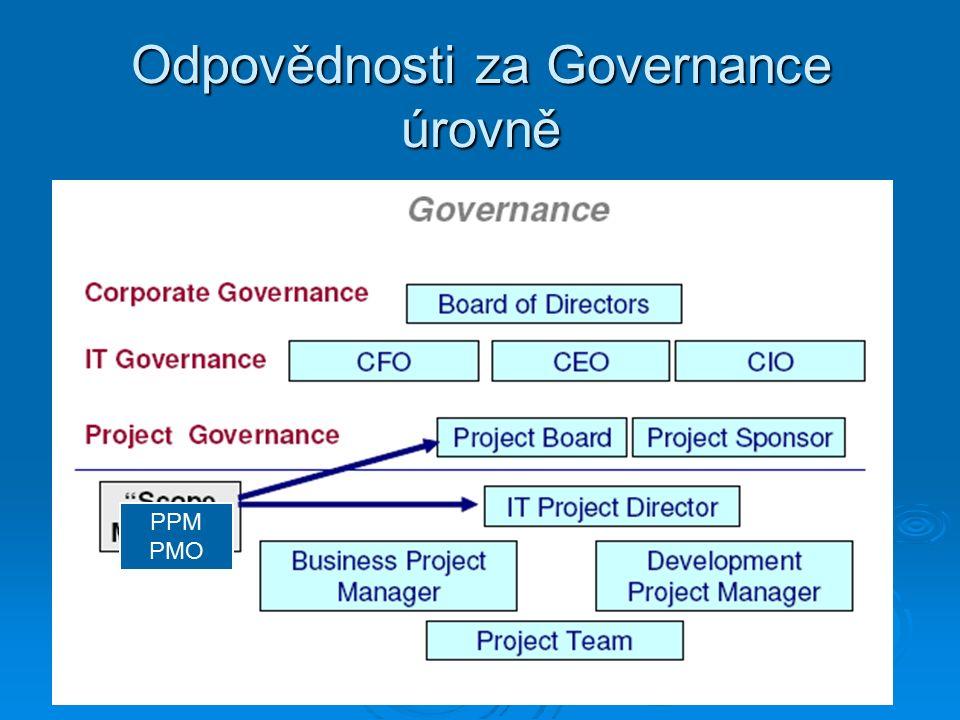 Odpovědnosti za Governance úrovně PPM PMO