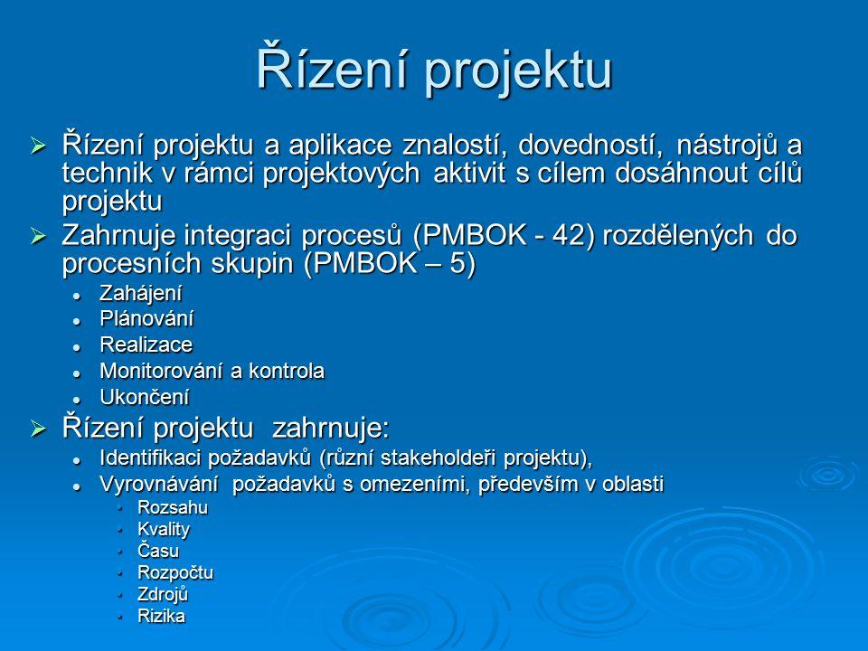 Řízení projektu  Řízení projektu a aplikace znalostí, dovedností, nástrojů a technik v rámci projektových aktivit s cílem dosáhnout cílů projektu  Zahrnuje integraci procesů (PMBOK - 42) rozdělených do procesních skupin (PMBOK – 5) Zahájení Zahájení Plánování Plánování Realizace Realizace Monitorování a kontrola Monitorování a kontrola Ukončení Ukončení  Řízení projektu zahrnuje: Identifikaci požadavků (různí stakeholdeři projektu), Identifikaci požadavků (různí stakeholdeři projektu), Vyrovnávání požadavků s omezeními, především v oblasti Vyrovnávání požadavků s omezeními, především v oblasti RozsahuRozsahu KvalityKvality ČasuČasu RozpočtuRozpočtu ZdrojůZdrojů RizikaRizika