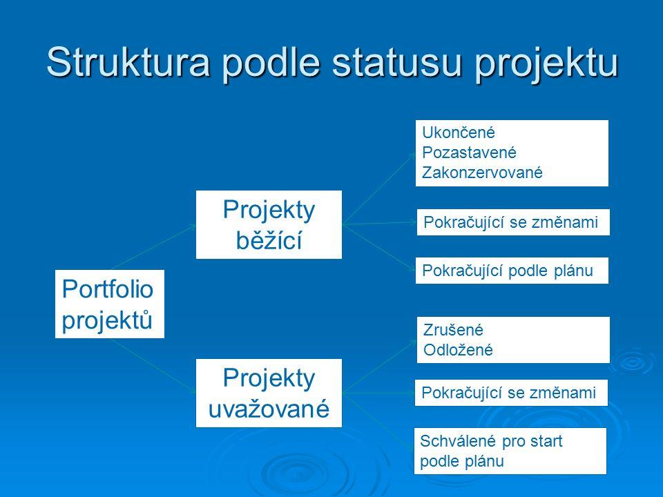 Struktura podle statusu projektu Portfolio projektů Projekty běžící Projekty uvažované Ukončené Pozastavené Zakonzervované Pokračující se změnami Pokračující podle plánu Zrušené Odložené Pokračující se změnami Schválené pro start podle plánu
