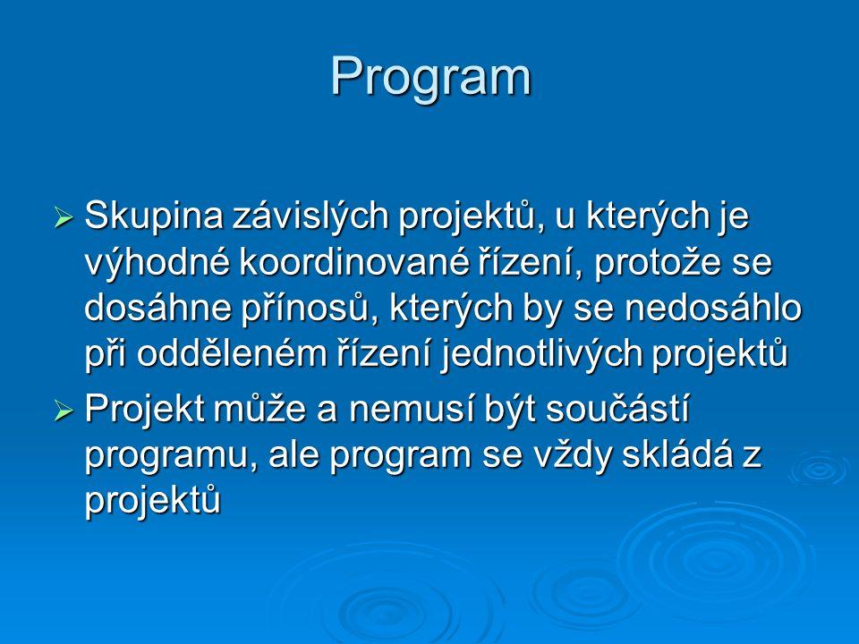 Program  Skupina závislých projektů, u kterých je výhodné koordinované řízení, protože se dosáhne přínosů, kterých by se nedosáhlo při odděleném řízení jednotlivých projektů  Projekt může a nemusí být součástí programu, ale program se vždy skládá z projektů