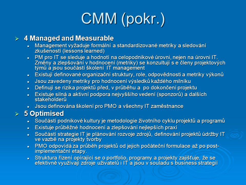 CMM (pokr.)  4 Managed and Measurable Management vyžaduje formální a standardizované metriky a sledování zkušeností (lessons learned) Management vyžaduje formální a standardizované metriky a sledování zkušeností (lessons learned) PM pro IT se sleduje a hodnotí na celopodnikové úrovni, nejen na úrovni IT.