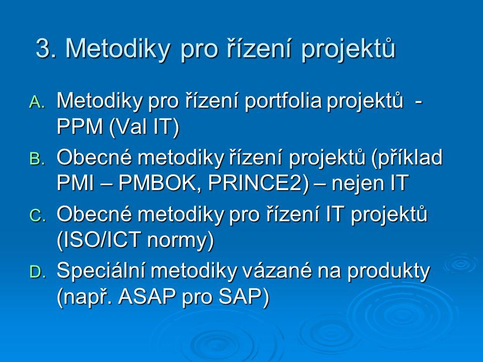 3. Metodiky pro řízení projektů A. Metodiky pro řízení portfolia projektů - PPM (Val IT) B.