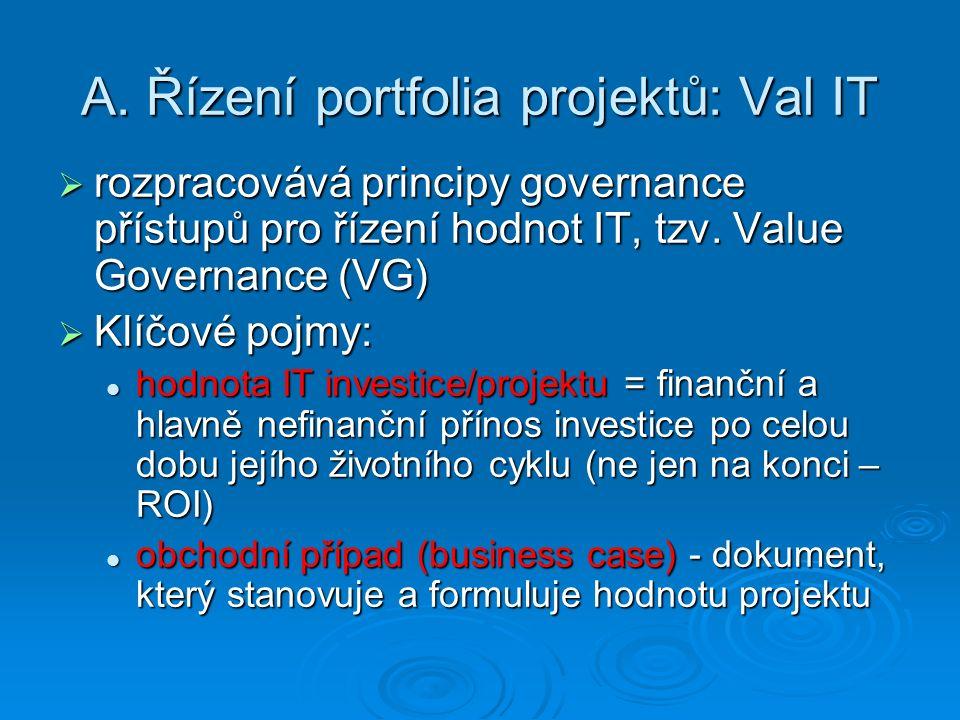 A. Řízení portfolia projektů: Val IT  rozpracovává principy governance přístupů pro řízení hodnot IT, tzv. Value Governance (VG)  Klíčové pojmy: hod