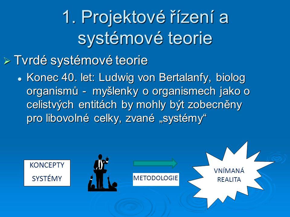 1. Projektové řízení a systémové teorie  Tvrdé systémové teorie Konec 40.