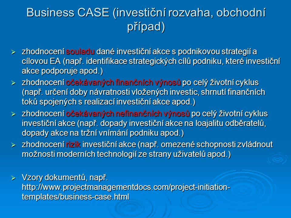 Business CASE (investiční rozvaha, obchodní případ)  zhodnocení souladu dané investiční akce s podnikovou strategií a cílovou EA (např.