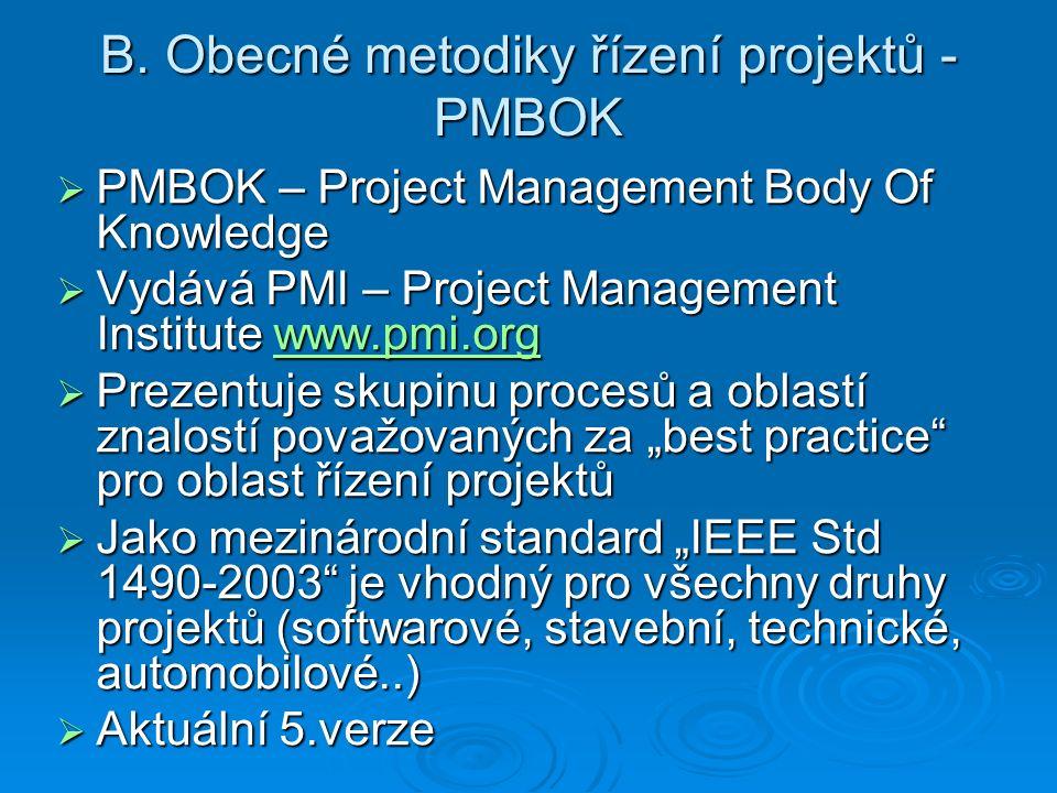B. Obecné metodiky řízení projektů - PMBOK  PMBOK – Project Management Body Of Knowledge  Vydává PMI – Project Management Institute www.pmi.org www.