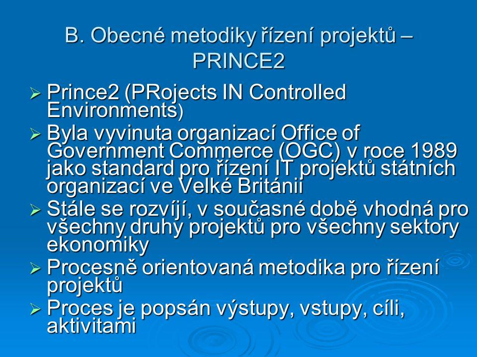 B. Obecné metodiky řízení projektů – PRINCE2  Prince2 (PRojects IN Controlled Environments )  Byla vyvinuta organizací Office of Government Commerce