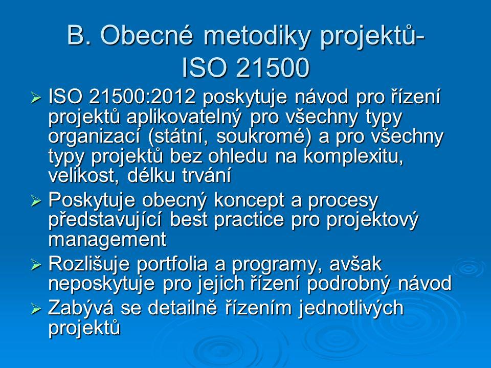 B. Obecné metodiky projektů- ISO 21500  ISO 21500:2012 poskytuje návod pro řízení projektů aplikovatelný pro všechny typy organizací (státní, soukrom