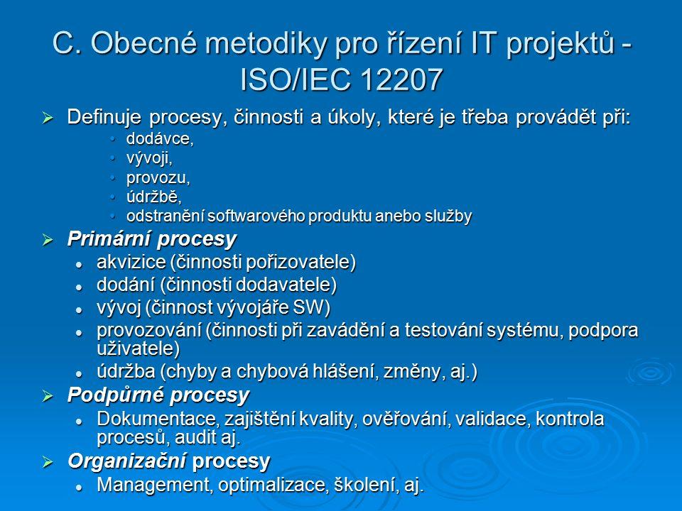 C. Obecné metodiky pro řízení IT projektů - ISO/IEC 12207  Definuje procesy, činnosti a úkoly, které je třeba provádět při: dodávce,dodávce, vývoji,v
