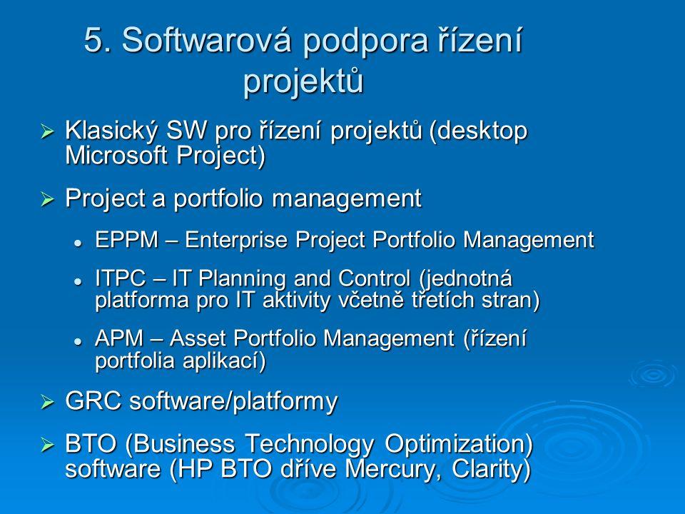 5. Softwarová podpora řízení projektů  Klasický SW pro řízení projektů (desktop Microsoft Project)  Project a portfolio management EPPM – Enterprise