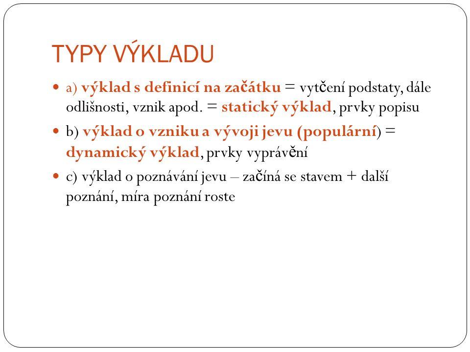 TYPY VÝKLADU a) výklad s definicí na za č átku = vyt č ení podstaty, dále odlišnosti, vznik apod.