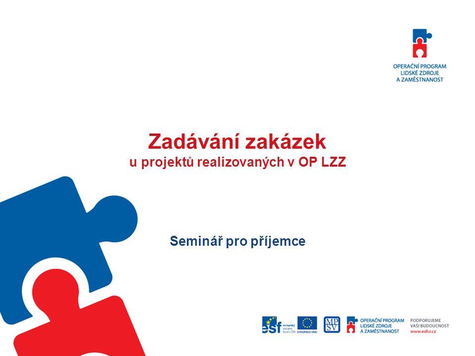 Prameny úpravy Metodický pokyn pro zadávání zakázek v OP LZZ (nyní ve verzi 1.3; jako příručka D9 součástí tzv.