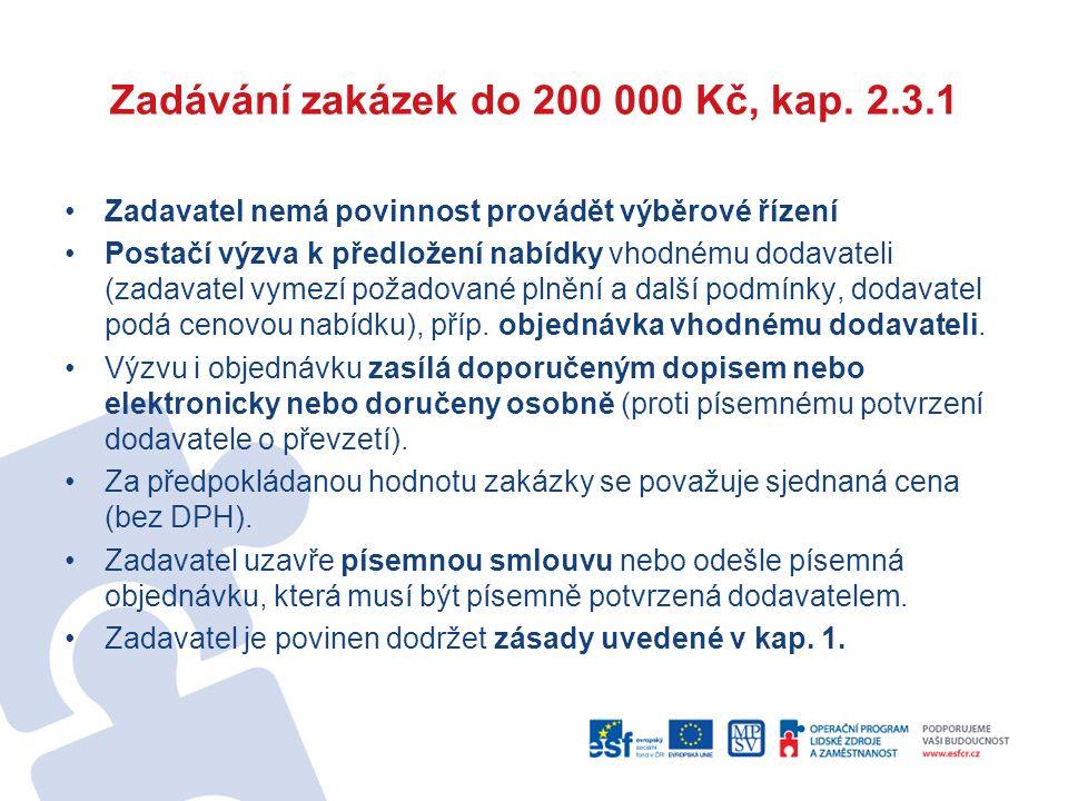 Zadávání zakázek do 200 000 Kč, kap. 2.3.1 Zadavatel nemá povinnost provádět výběrové řízení Postačí výzva k předložení nabídky vhodnému dodavateli (z