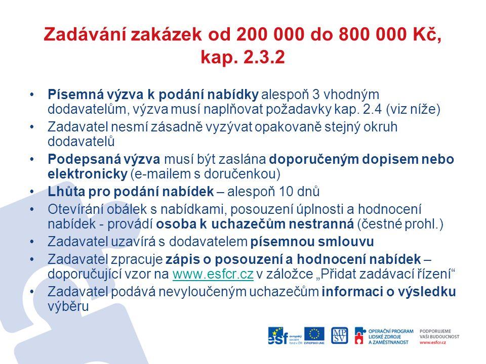 Zadávání zakázek od 200 000 do 800 000 Kč, kap. 2.3.2 Písemná výzva k podání nabídky alespoň 3 vhodným dodavatelům, výzva musí naplňovat požadavky kap