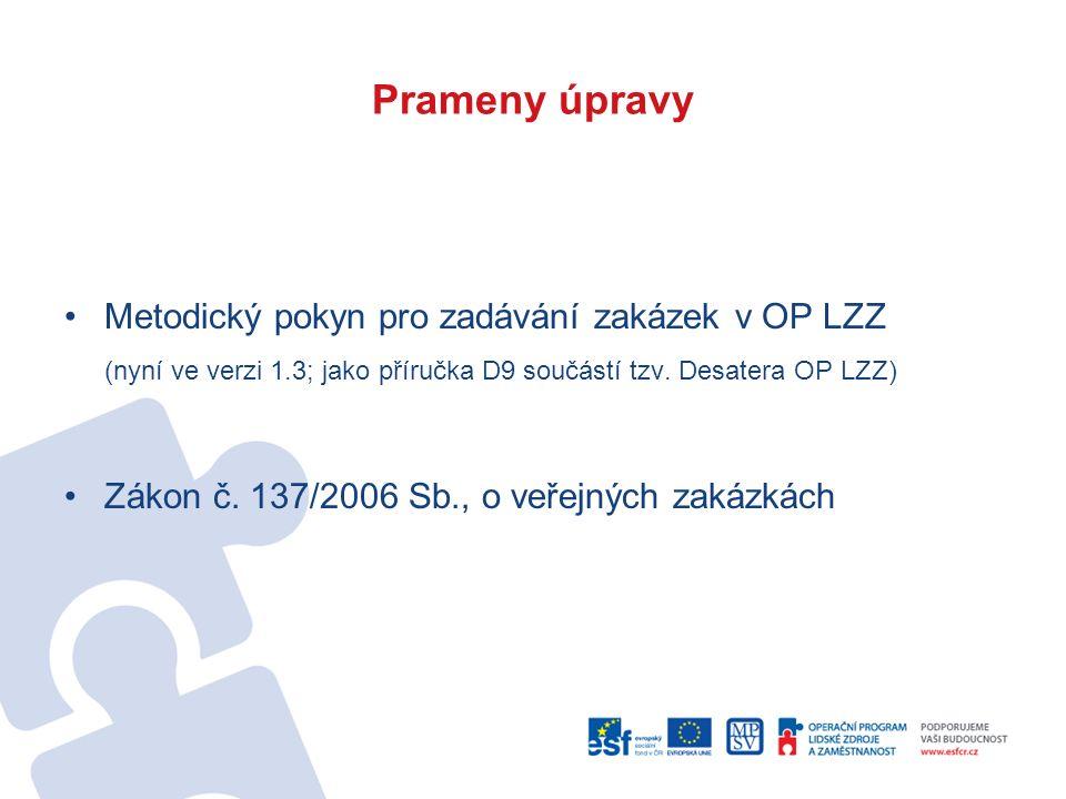 Prameny úpravy Metodický pokyn pro zadávání zakázek v OP LZZ (nyní ve verzi 1.3; jako příručka D9 součástí tzv. Desatera OP LZZ) Zákon č. 137/2006 Sb.