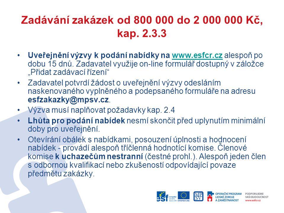 Zadávání zakázek od 800 000 do 2 000 000 Kč, kap. 2.3.3 Uveřejnění výzvy k podání nabídky na www.esfcr.cz alespoň po dobu 15 dnů. Zadavatel využije on