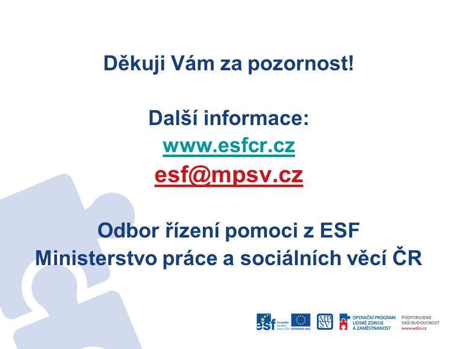 Děkuji Vám za pozornost! Další informace: www.esfcr.cz esf@mpsv.cz Odbor řízení pomoci z ESF Ministerstvo práce a sociálních věcí ČR