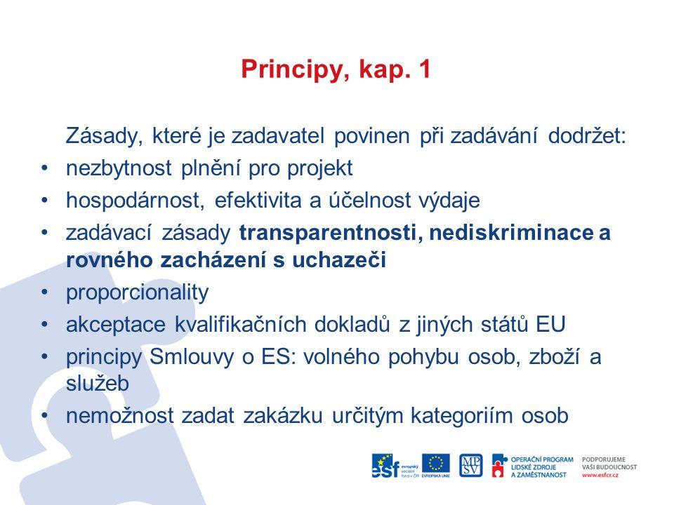 Principy, kap. 1 Zásady, které je zadavatel povinen při zadávání dodržet: nezbytnost plnění pro projekt hospodárnost, efektivita a účelnost výdaje zad
