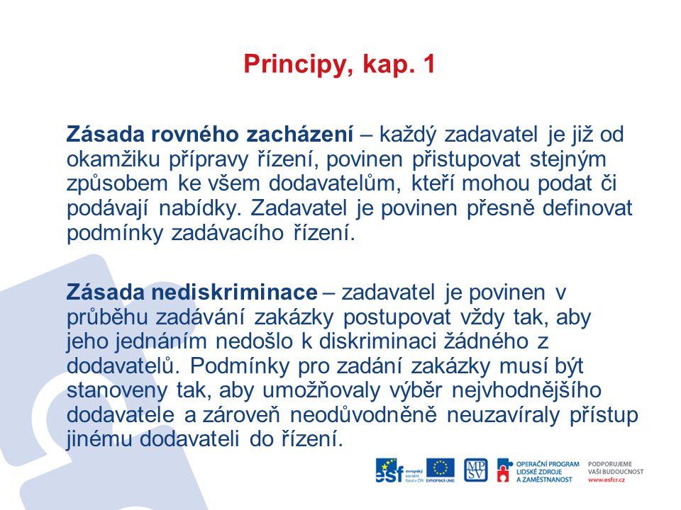 Principy, kap. 1 Zásada rovného zacházení – každý zadavatel je již od okamžiku přípravy řízení, povinen přistupovat stejným způsobem ke všem dodavatel