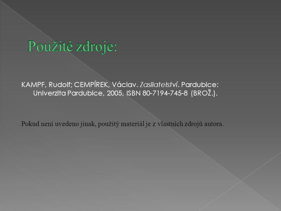 KAMPF, Rudolf; CEMPÍREK, Václav. Zasilatelství. Pardubice: Univerzita Pardubice, 2005, ISBN 80-7194-745-8 (BROŽ.). Pokud není uvedeno jinak, použitý m