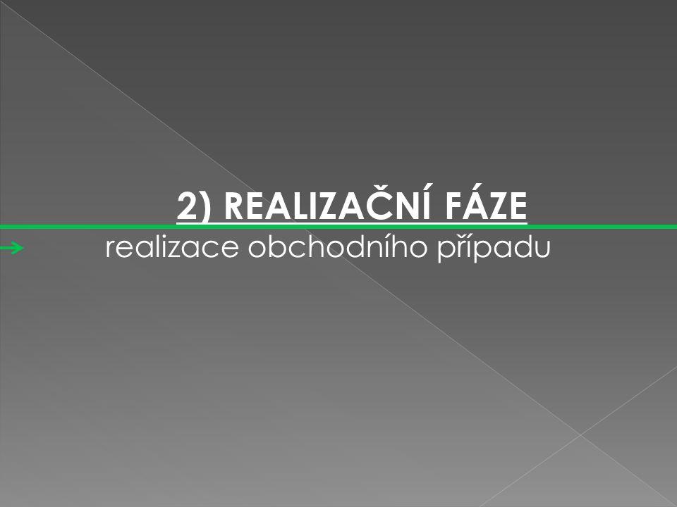 2) REALIZAČNÍ FÁZE realizace obchodního případu