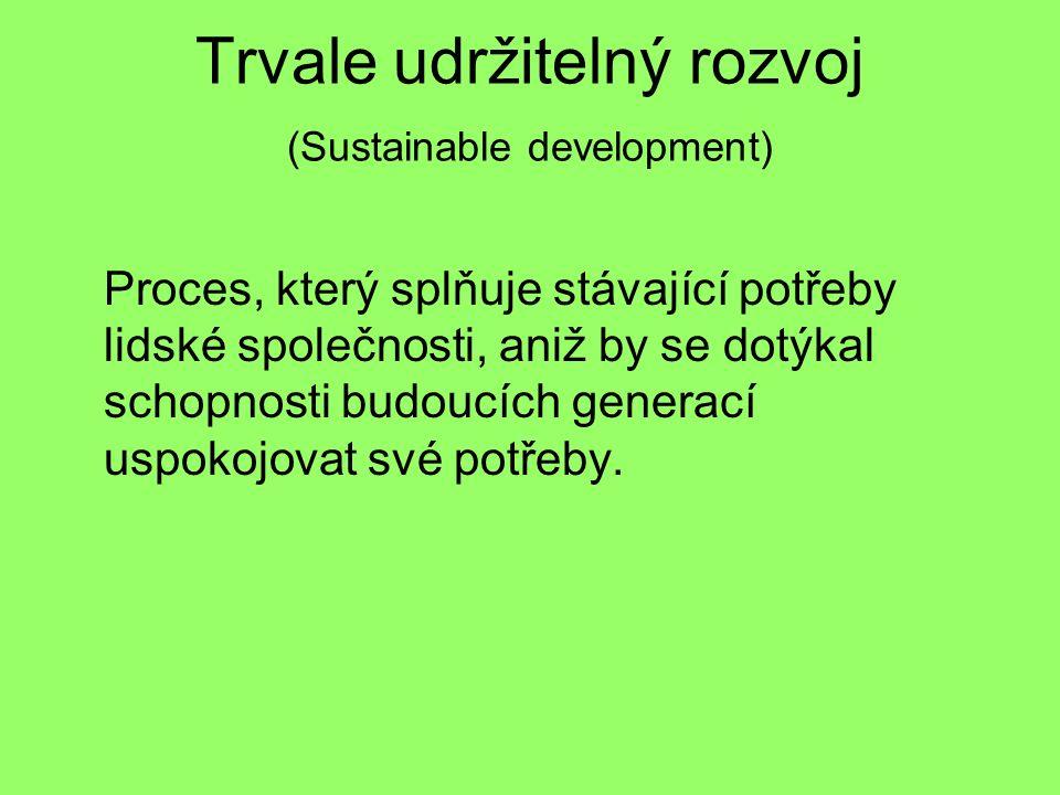 Trvale udržitelný rozvoj (Sustainable development) Proces, který splňuje stávající potřeby lidské společnosti, aniž by se dotýkal schopnosti budoucích generací uspokojovat své potřeby.