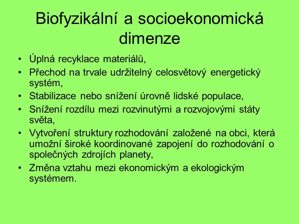 Biofyzikální a socioekonomická dimenze Úplná recyklace materiálů, Přechod na trvale udržitelný celosvětový energetický systém, Stabilizace nebo snížení úrovně lidské populace, Snížení rozdílu mezi rozvinutými a rozvojovými státy světa, Vytvoření struktury rozhodování založené na obci, která umožní široké koordinované zapojení do rozhodování o společných zdrojích planety, Změna vztahu mezi ekonomickým a ekologickým systémem.