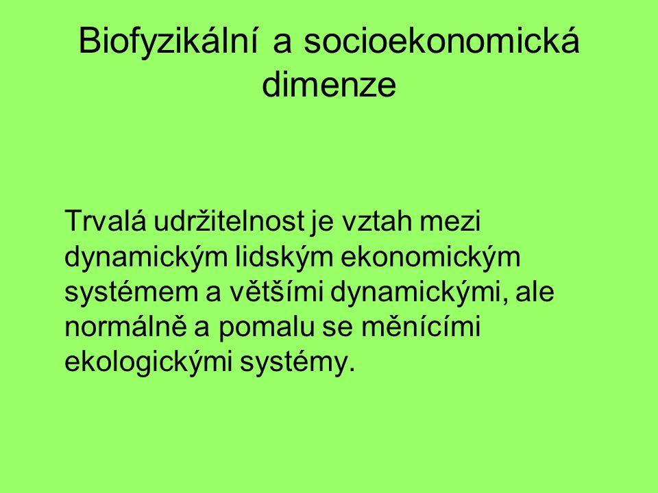 Biofyzikální a socioekonomická dimenze Trvalá udržitelnost je vztah mezi dynamickým lidským ekonomickým systémem a většími dynamickými, ale normálně a pomalu se měnícími ekologickými systémy.