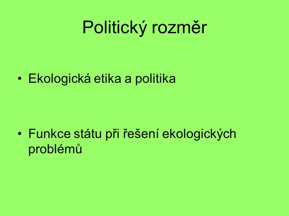 Politický rozměr Ekologická etika a politika Funkce státu při řešení ekologických problémů