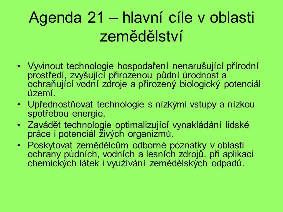 Agenda 21 – hlavní cíle v oblasti zemědělství Vyvinout technologie hospodaření nenarušující přírodní prostředí, zvyšující přirozenou půdní úrodnost a ochraňující vodní zdroje a přirozený biologický potenciál území.