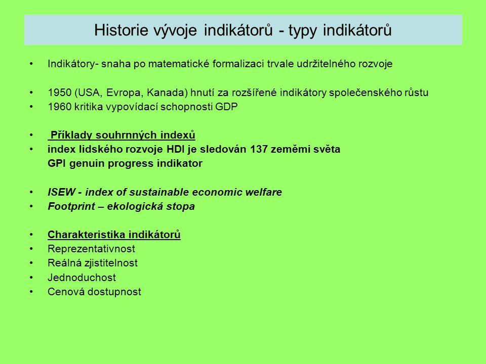 Historie vývoje indikátorů - typy indikátorů Indikátory- snaha po matematické formalizaci trvale udržitelného rozvoje 1950 (USA, Evropa, Kanada) hnutí za rozšířené indikátory společenského růstu 1960 kritika vypovídací schopnosti GDP Příklady souhrnných indexů index lidského rozvoje HDI je sledován 137 zeměmi světa GPI genuin progress indikator ISEW - index of sustainable economic welfare Footprint – ekologická stopa Charakteristika indikátorů Reprezentativnost Reálná zjistitelnost Jednoduchost Cenová dostupnost