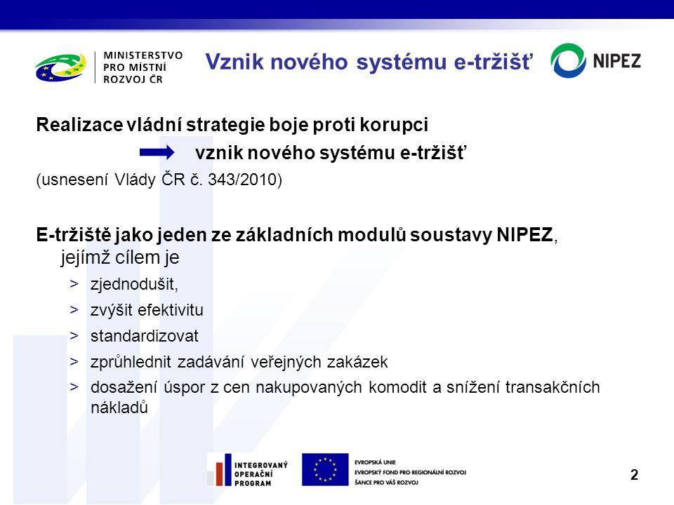 Vznik nového systému e-tržišť Realizace vládní strategie boje proti korupci vznik nového systému e-tržišť (usnesení Vlády ČR č. 343/2010) E-tržiště ja