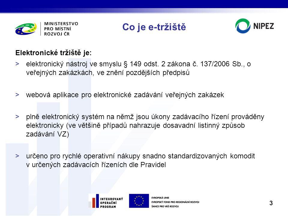 Co je e-tržiště Elektronické tržiště je: >elektronický nástroj ve smyslu § 149 odst. 2 zákona č. 137/2006 Sb., o veřejných zakázkách, ve znění pozdějš