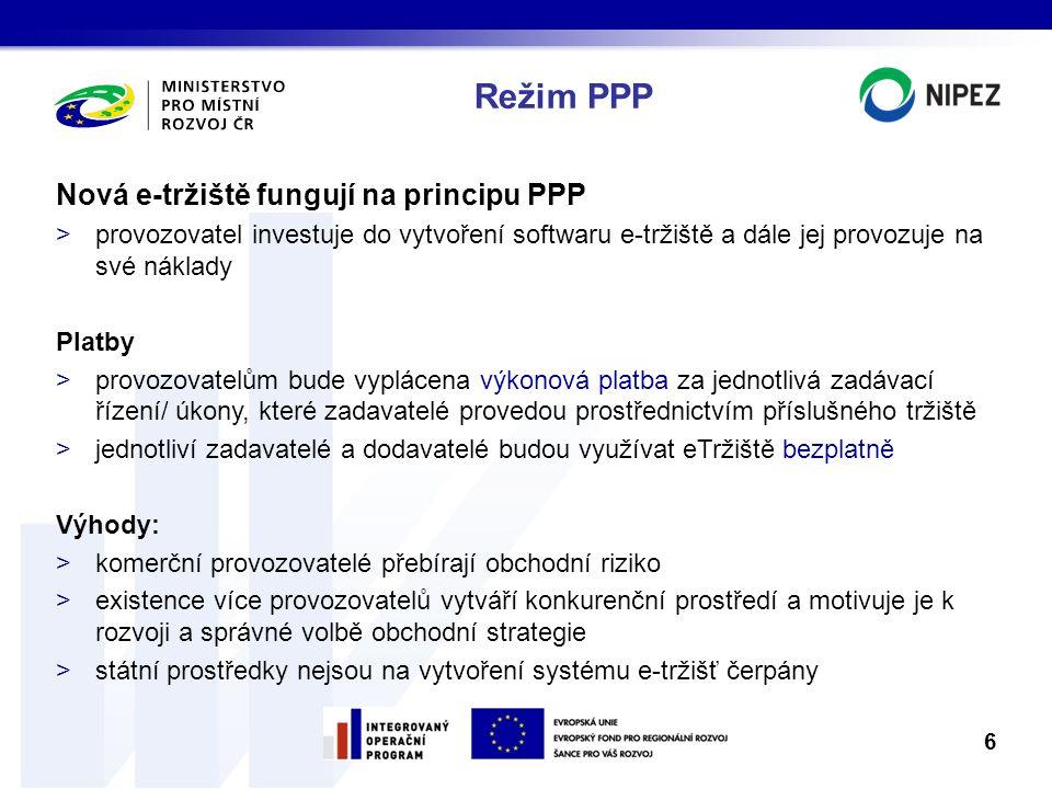 Režim PPP Nová e-tržiště fungují na principu PPP >provozovatel investuje do vytvoření softwaru e-tržiště a dále jej provozuje na své náklady Platby >p