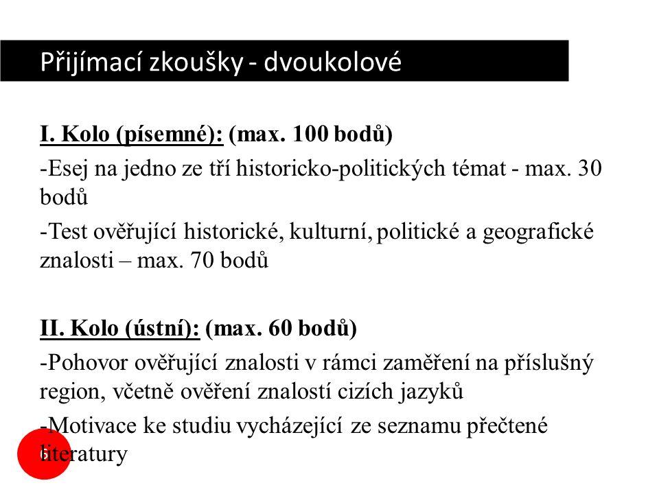 6 Přijímací zkoušky - dvoukolové I. Kolo (písemné): (max.