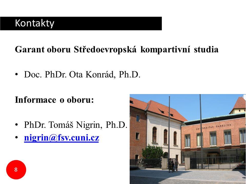 Kontakty Garant oboru Středoevropská kompartivní studia Doc.