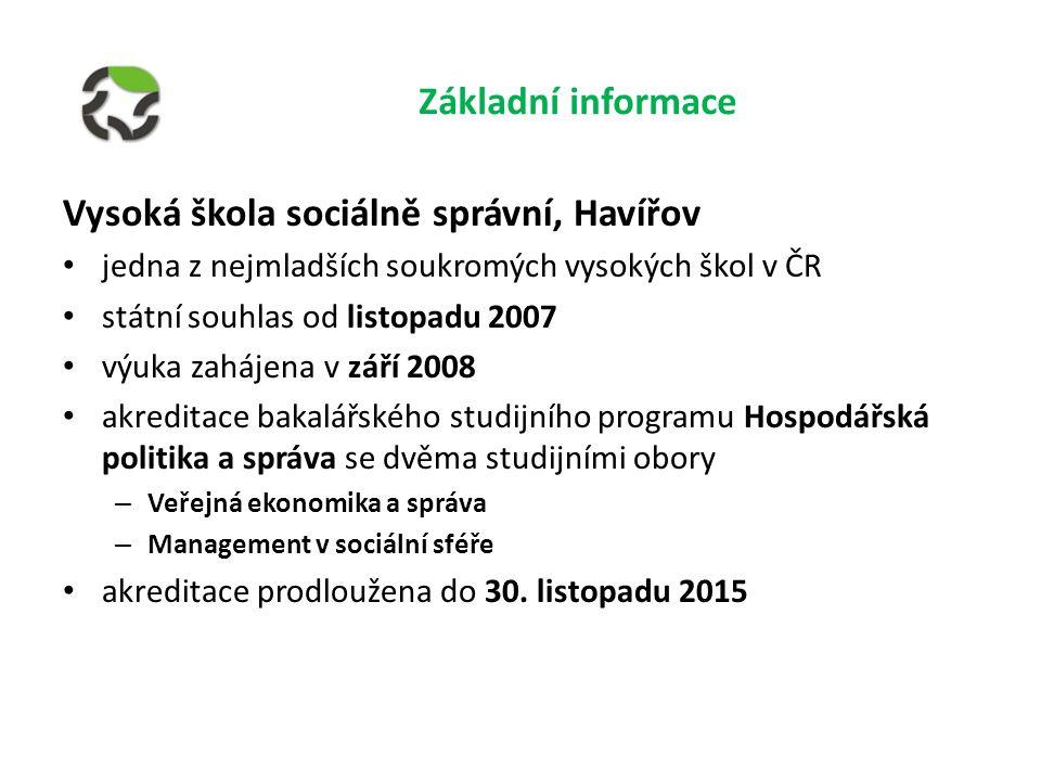 jedna z nejmladších soukromých vysokých škol v ČR státní souhlas od listopadu 2007 výuka zahájena v září 2008 akreditace bakalářského studijního programu Hospodářská politika a správa se dvěma studijními obory – Veřejná ekonomika a správa – Management v sociální sféře akreditace prodloužena do 30.