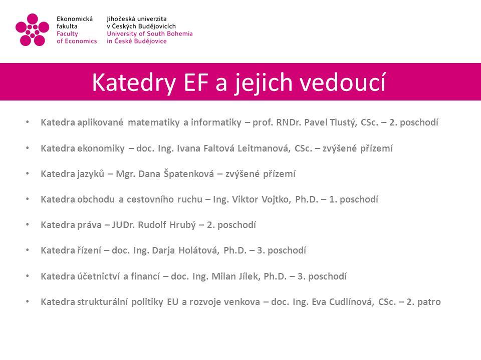 Katedry EF a jejich vedoucí Katedra aplikované matematiky a informatiky – prof.
