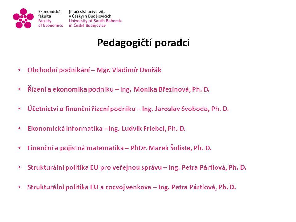 Pedagogičtí poradci Obchodní podnikání – Mgr. Vladimír Dvořák Řízení a ekonomika podniku – Ing.