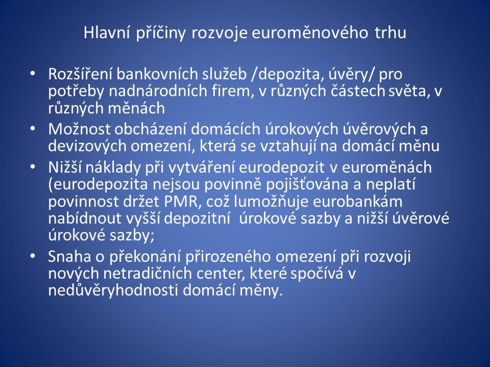 Hlavní příčiny rozvoje euroměnového trhu Rozšíření bankovních služeb /depozita, úvěry/ pro potřeby nadnárodních firem, v různých částech světa, v různých měnách Možnost obcházení domácích úrokových úvěrových a devizových omezení, která se vztahují na domácí měnu Nižší náklady při vytváření eurodepozit v euroměnách (eurodepozita nejsou povinně pojišťována a neplatí povinnost držet PMR, což lumožňuje eurobankám nabídnout vyšší depozitní úrokové sazby a nižší úvěrové úrokové sazby; Snaha o překonání přirozeného omezení při rozvoji nových netradičních center, které spočívá v nedůvěryhodnosti domácí měny.