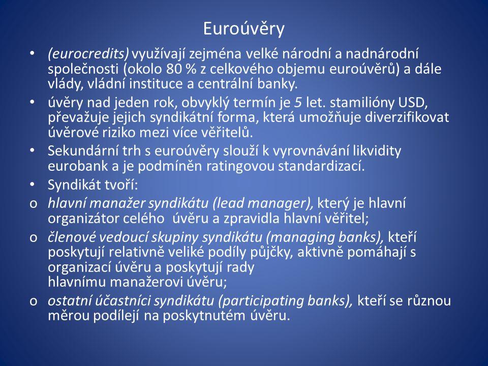 Euroúvěry (eurocredits) využívají zejména velké národní a nadnárodní společnosti (okolo 80 % z celkového objemu euroúvěrů) a dále vlády, vládní instituce a centrální banky.