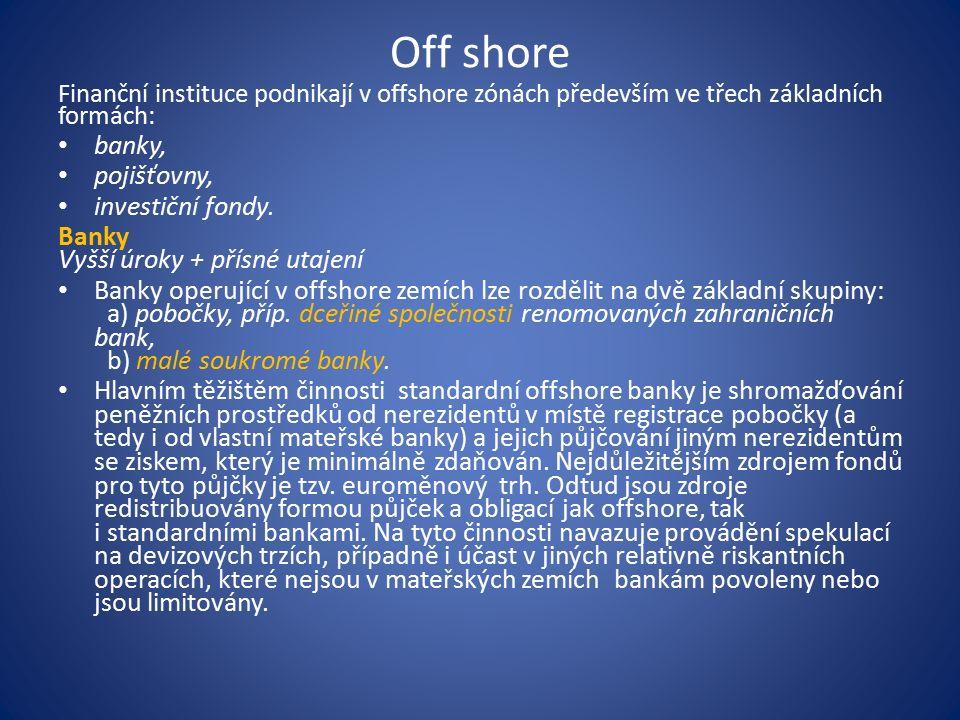 Off shore Finanční instituce podnikají v offshore zónách především ve třech základních formách: banky, pojišťovny, investiční fondy.