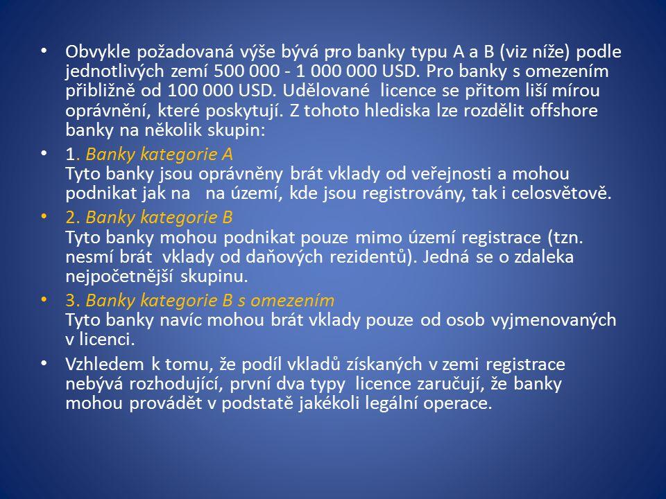 Obvykle požadovaná výše bývá pro banky typu A a B (viz níže) podle jednotlivých zemí 500 000 - 1 000 000 USD.