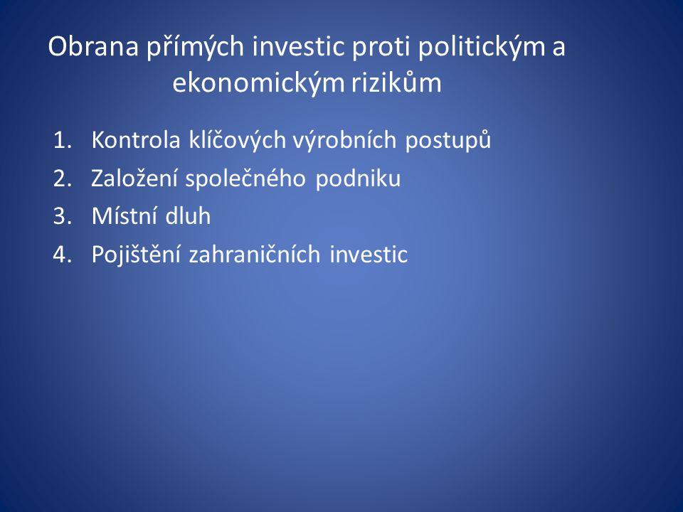 Obrana přímých investic proti politickým a ekonomickým rizikům 1.Kontrola klíčových výrobních postupů 2.Založení společného podniku 3.Místní dluh 4.Pojištění zahraničních investic