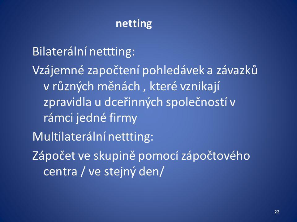 netting Bilaterální nettting: Vzájemné započtení pohledávek a závazků v různých měnách, které vznikají zpravidla u dceřinných společností v rámci jedné firmy Multilaterální nettting: Zápočet ve skupině pomocí zápočtového centra / ve stejný den/ 22
