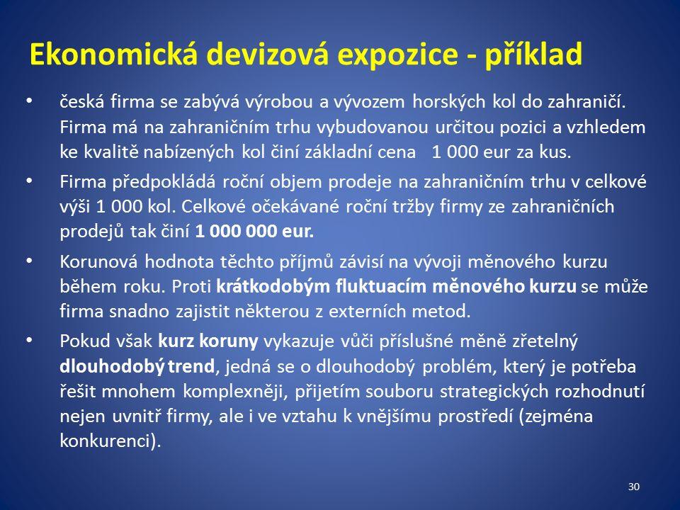 Ekonomická devizová expozice - příklad česká firma se zabývá výrobou a vývozem horských kol do zahraničí.